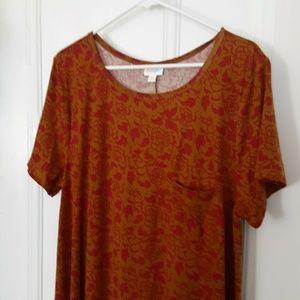 LuLaRoe new midi dress 3Xl Gold red leaves